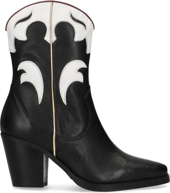 Manfield Dames Zwarte cowboylaarzen met witte details Maat 38