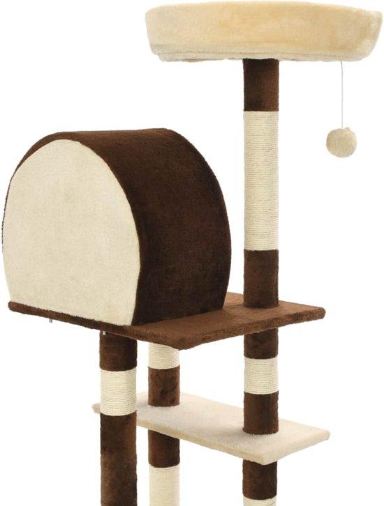 vidaXL Kattenkrabpaal met sisal krabpalen 127 cm beige en bruin