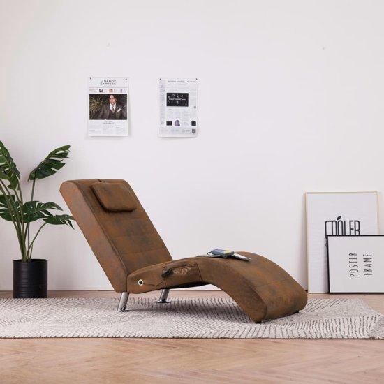 Bruin Leren Bank Met Longchair.Bol Com Massage Chaise Longue Bruin Kunst Suede Leer Chaise