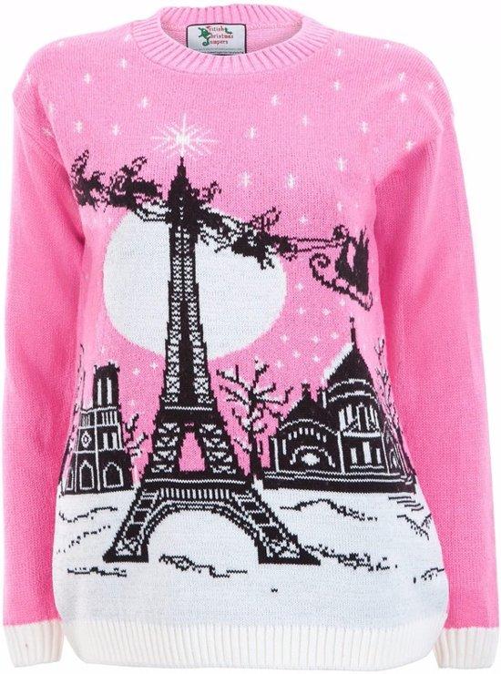 Roze kersttrui Paris voor dames - foute kersttruien L (40) Valentinaa