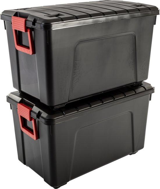 IRIS Store It All Opbergbox - 110 l - Kunststof - Zwart/Rood