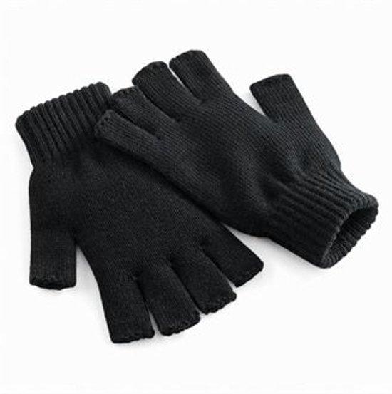 Vingerloze gebreide handschoenen zwart L/xl