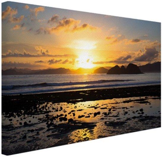 Zonsondergang in Azie  Canvas 120x80 cm - Foto print op Canvas schilderij (Wanddecoratie)