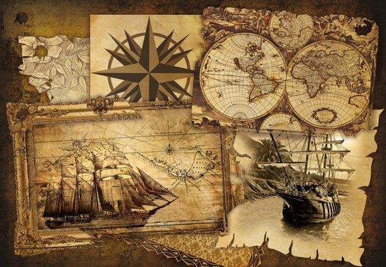Fotobehang Vintage Ships and Maps | XL - 208cm x 146cm | 130g/m2 Vlies