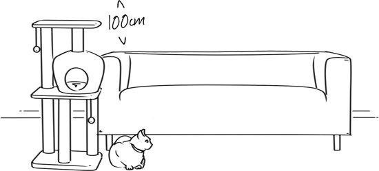 Krabpaal Jerry 122 cm (beige) met pootafdrukken