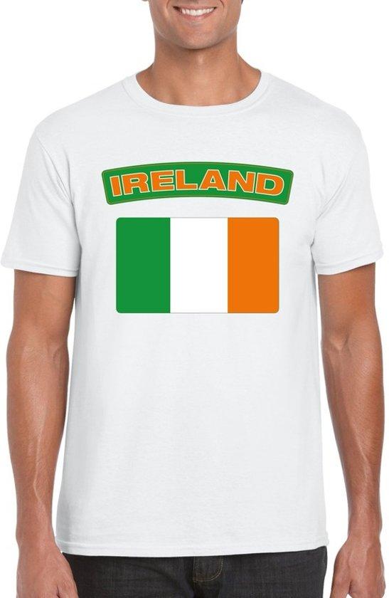 Ierland t-shirt met Ierse vlag wit heren M