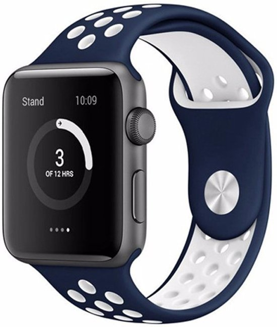 Siliconen Band Voor Apple Watch Series  1/2/3/4 42 MM /44 MM - iWatch Armband Polsband Strap - Blauw Wit
