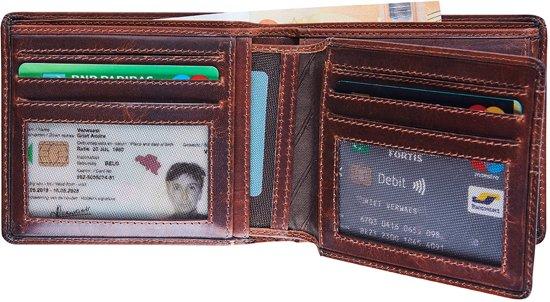 Portemonnee Maverick Dalian RFID leer bruin 8,5 x 11 cm