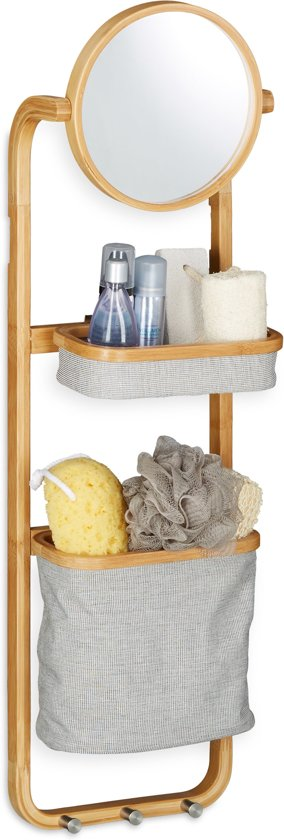 bol.com   relaxdays badkamerrek bamboe - hangend rek met spiegel ...