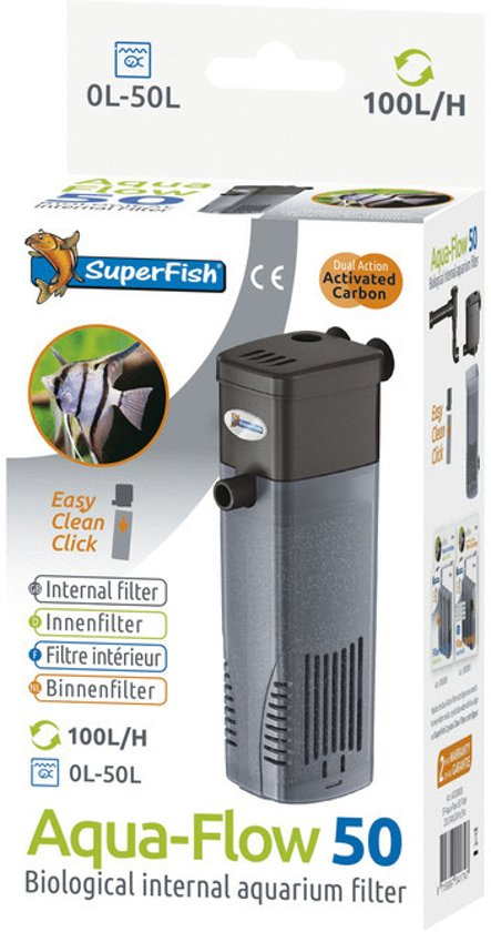 SuperFish AquaFlow Dual Action 50 - Aquarium - Filter - 100 ltr/uur