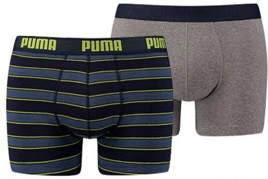 PUMA Rugby Stripe YD Boxerhosrt - 2-pack - Grijs/Blauw - Maat XL