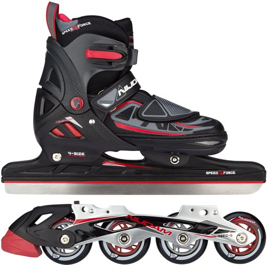 NORENSCHAATS/SKATE COMBO JUNIOR • SEMI-SOFTBOOT • N-FORCE I - Zwart/Rood/Antraciet - Maat 33-36