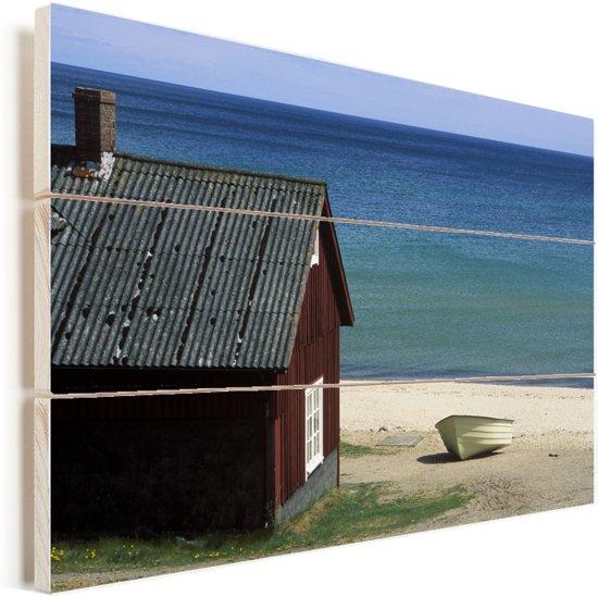 Uitzicht op de Oostzee vanuit het Nationaal park Stenshuvud in Zweden Vurenhout met planken 30x20 cm - klein - Foto print op Hout (Wanddecoratie)