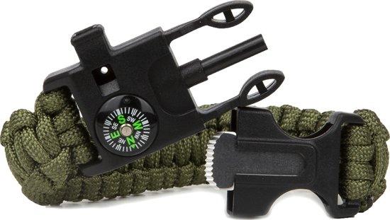 Travelsky Survival Bracelet - Paracord Armband – Survivalarmband – met Kompas – Olijfgroen