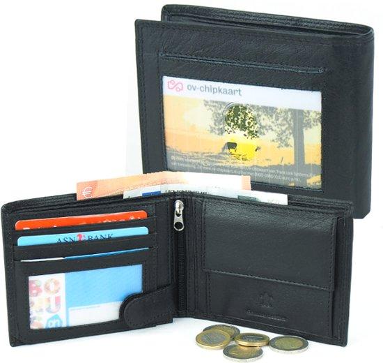5e53f498e77 bol.com | Zwarte Leren Portemonnee - OV Kaart - 10 Pasjes - RFID