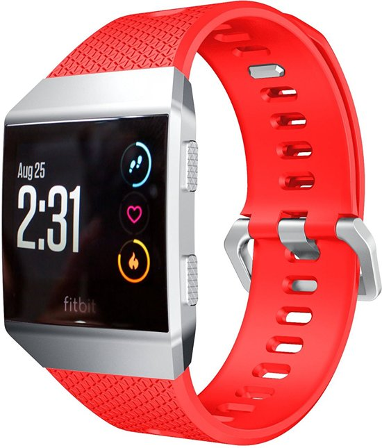 Siliconen Horloge Band Voor Fitbit Ionic - Armband / Polsband / Strap Sport Bandje / Sportband - Rood Large
