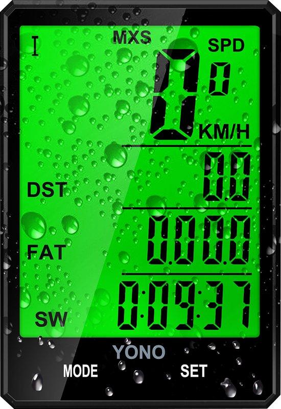 Fietscomputer Draadloos met LED verlichting - Snelheidsmeter Kilometerteller voor Fiets / Mountainbike