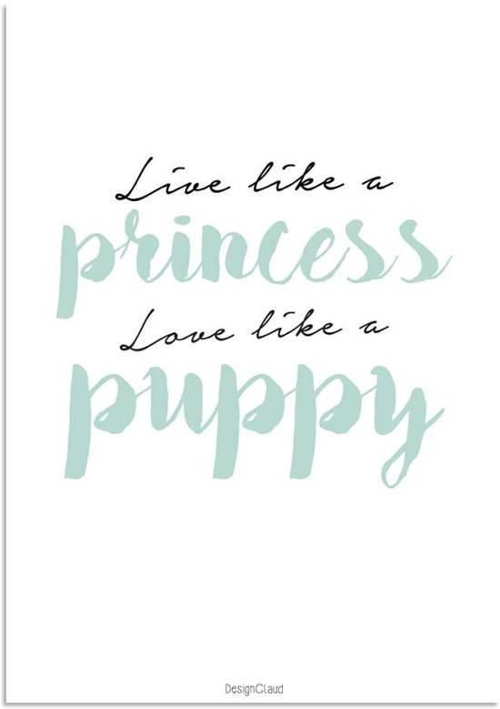 Kinderkamer poster babykamer tekst poster live like a princess love like a puppy - Kamer wanddecoratie kind ...