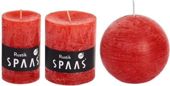 3x Rode rustieke kaarsen set 5 x 8 cm / 7 x 8 cm / 8 cm - Geurloze kaarsen - Woondecoraties