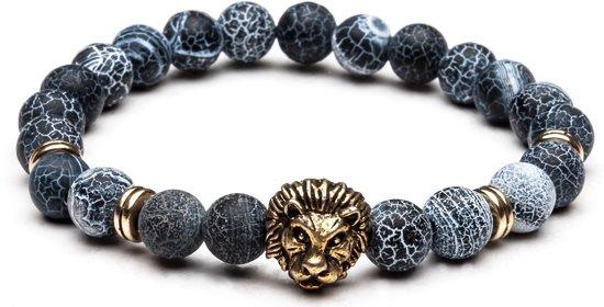 TCKN Natuurstenen armband - Kralen armband - Grijs - Leeuw bedel Goudkleurig