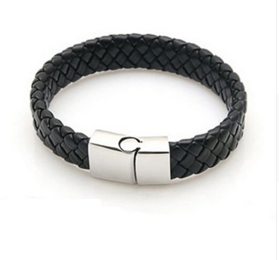 Lovelymusthaves Stoere platte brede mannen / heren Armband gevlochten zwart met handige sluiting