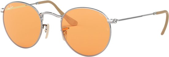 22664e2e549bba Ray-Ban Round Metal Orange Zonnebril 0RB3447 9065V9 50 - Zilver