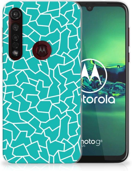 Motorola Moto G8 Plus Hoesje maken Design Cracks Blue