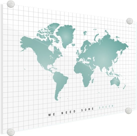 Wereldkaart Groen Plexiglas - Mintgroen - Modern - 60x40 cm
