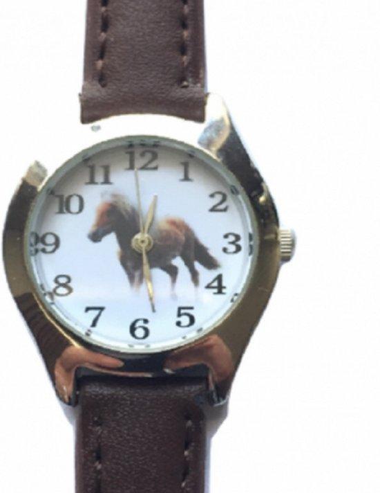 Horloge- Paard- Bruin- 26 mm- Echt leer- gratis batterij- gratis paard ketting