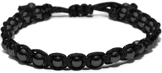Kaliber 7KB-0084 - Heren armband - nylon met 6 mm stalen balletjes - one-size - zwart