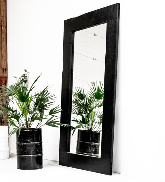 Spiegel Hout Zwart Lijst XXL   Spiegel Handgemaakt 225 x 120 cm