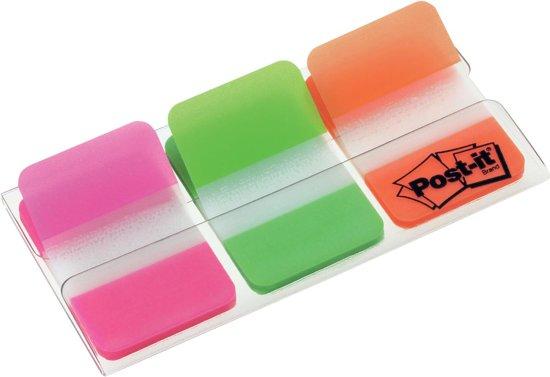 Post-it® Index Strong, Roze, Groen, Oranje, 25.4 x 38 mm, 22 Tabs/Kleur/Dispenser