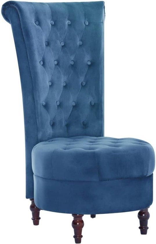 Blauwe Relax Stoelen.Chique Stoel Met Hoge Rugleuning Velvet Blauw Koning Stoel Velvet Met Knopen