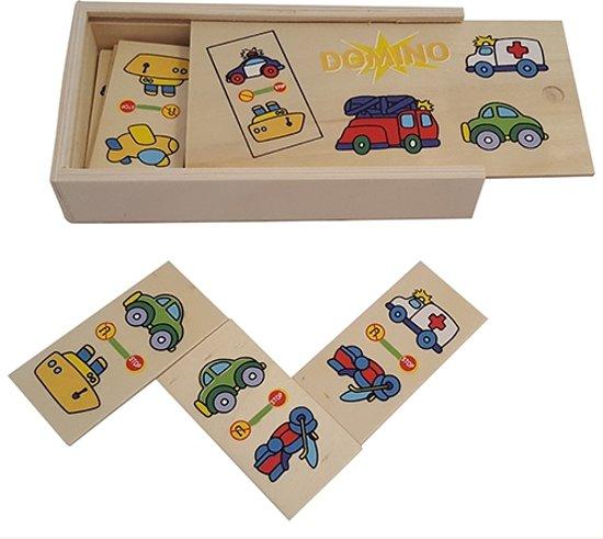Afbeelding van het spel Houten domino Vervoer, in houten kistje