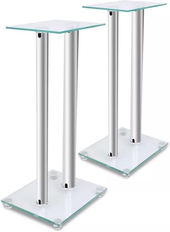 vidaXL Luidsprekerstandaard van glas (2 stuks / elk met 2 zilveren zuilen)
