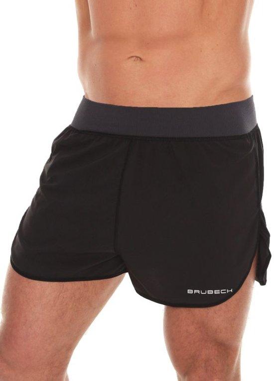 Brubeck | Athletic Heren Hardloop Shorts - Hardloopbroek - met binnenbroek model Slip - Zwart - XL