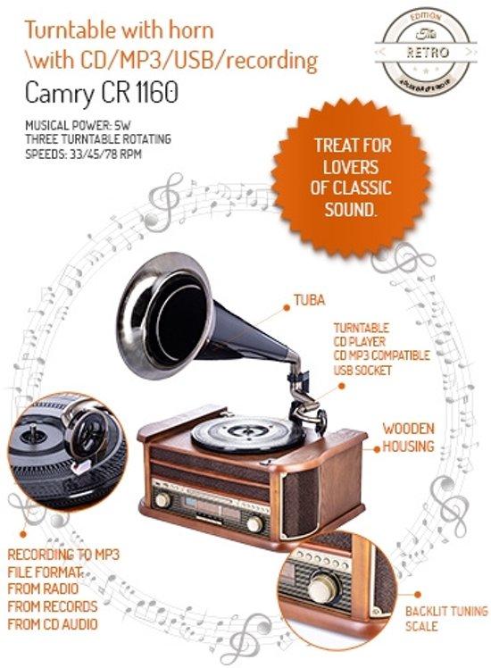 Camry CR 1160 - Retro platenspeler - hoorn