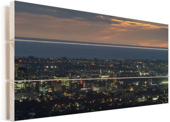 Luchtfoto van Adelaide in Oceanië tijdens de avond Vurenhout met planken 30x20 cm - klein - Foto print op Hout (Wanddecoratie)