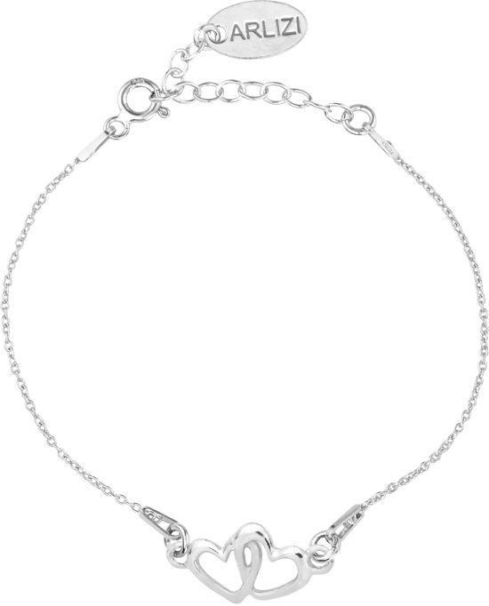 ARLIZI 1326 Armband Dubbel Hartjes - Dames - 925 Sterling Zilver - 18 cm