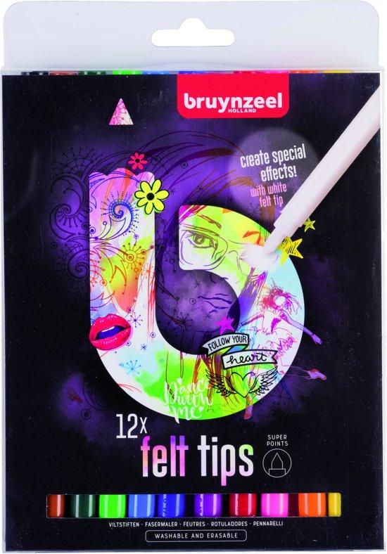 Bruynzeel Teens 12 super viltstiften - met witte wis-stift