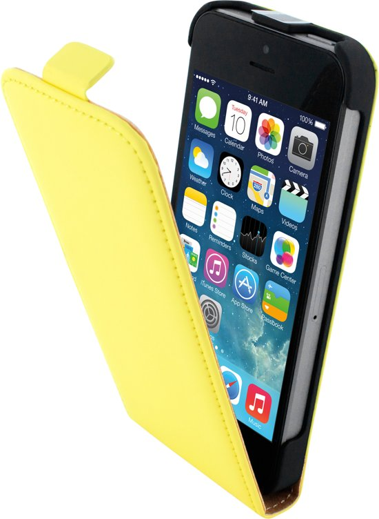 Mobiparts Premium Flip Case Apple iPhone 5/5S/SE Yellow in Midlum / Mullum