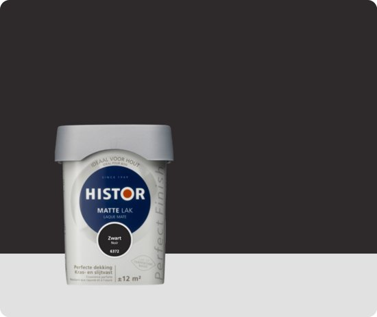 Histor Perfect Finish Lak Mat 0,75 liter - Zwart