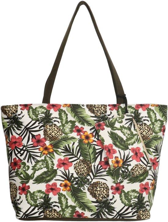 3cd77e23b47 Beagles Tropical Ananas Canvas Strandtas Shopper met Etui Pineapple