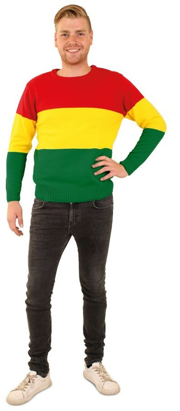 Gebreide sweater rood/geel/groen gestreept mt.128