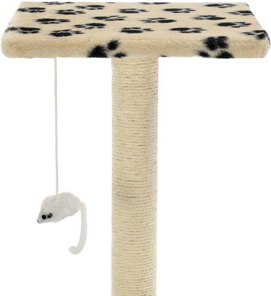vidaXL Kattenkrabpaal met sisal krabpalen 95 cm pootafdrukken beige