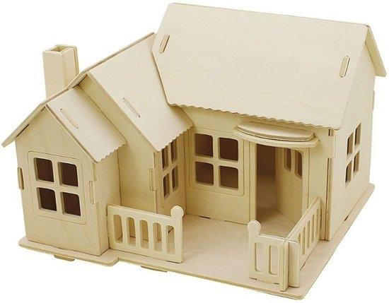 Houten Huis Bouwpakket : Bol.com houten 3d bouwpakket huis met terras 19 x 17 x 15 cm
