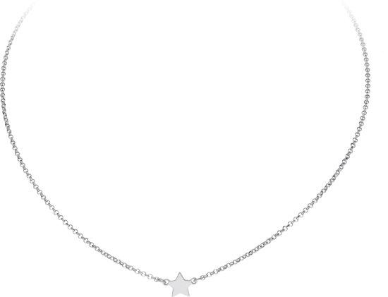 Lifetime Love ketting - zilver - gerodineerd - ster - 36.5 + 4.5 cm