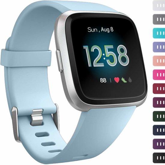 123Watches.nl Siliconen bandje - Fitbit Versa (Lite) - Blauw - S/M