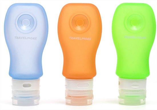 3 Siliconen Reisflesjes met Zuignap – Ideale Navulbare Mini Reisflacons voor Handbagage & Travel – 89 ml per Knijpfles – BPA Vrij