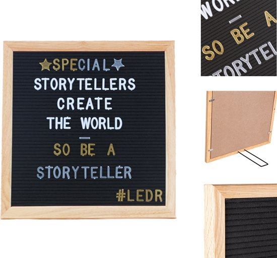 LEDR® Letterbord 30 x 30 Zwart – Inclusief 354 letters, symbolen & emoticons – Inclusief verstelbaar standaard - Eiken houten frame